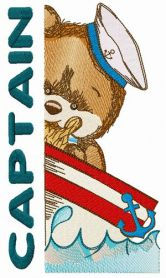 Bear the captain machine embroidery design