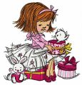 Girl's presents embroidery design