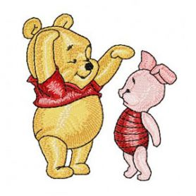 Baby Pooh and Piglet machine embroidery design