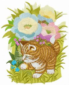 Hiding in garden flowers machine embroidery design
