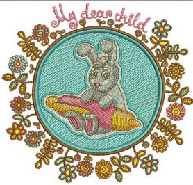 Bunny the writer machine embroidery design