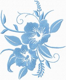 Free Blue flowers machine embroidery design