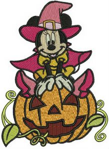 Minnie Mouse with huge pumpkin