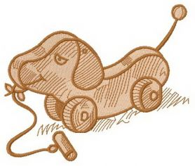 Wooden dog toy machine embroidery design