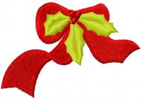 Red ribbon with Christmas branch free embroidery design