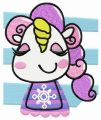 Happy unicorn teen embroidery design