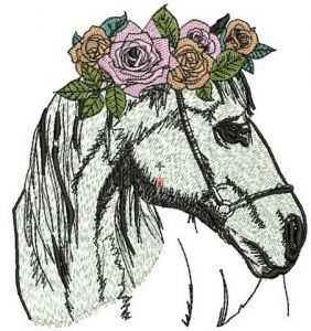 Horse with wreath of roses