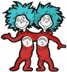 Thing 1 and Thing 2 machine embroidery design