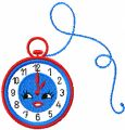 Happy clock embroidery design