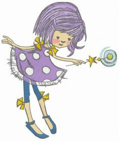 Fairy with moon magic wand machine embroidery design
