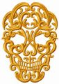 Ornate skull embroidery design
