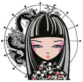 Japanese  girl 4 machine embroidery design