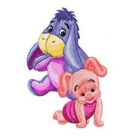 Baby Eeyore and Piglet 1 machine embroidery design