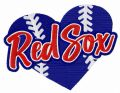 Red Sox heart embroidery design