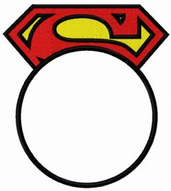 Superman round monogram machine embroidery design