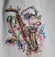 Art saxophone embroidered design