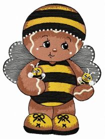 Gingerbread boy in bee costume machine embroidery design