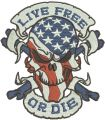 Live free or die 3 embroidery design