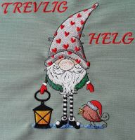 Christmas gnome prepare to holiday embroidery design