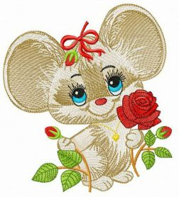 Mouse with red rose machine embroidery design