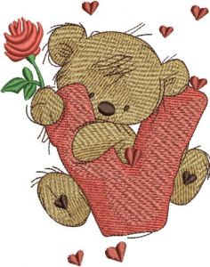 Teddy Bear with letter V