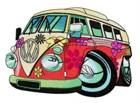 Hippie camper machine embroidery design