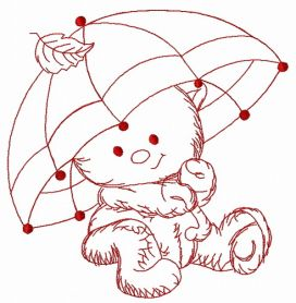 Teddy's rainy day 3 machine embroidery design