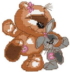Teddy dance with bunny cross stitch free embroidery design