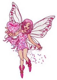 Young love fairy machine embroidery design