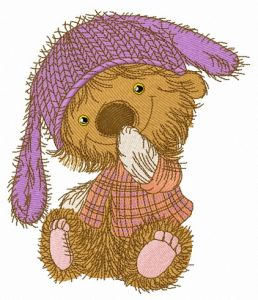 Bear in knitted bunny hat