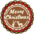 Merry Christmas round label embroidery design