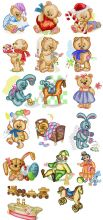 Old Toys Teddy Bear Embroidery Pack
