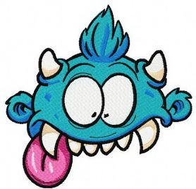 Blue horny monster machine embroidery design