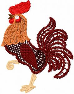 Dark red rooster