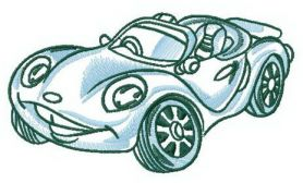 Smiling car machine embroidery design