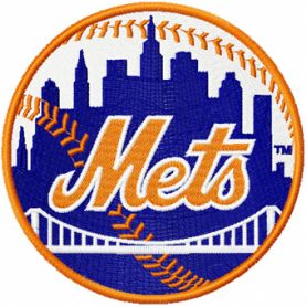 Mets baseball team logo machine embroidery design