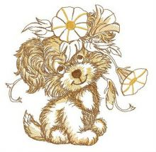 Puppy with bindweed wreath