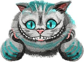 Cheshire Cat modern variant machine embroidery design