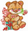 Old bear toy present embroidery design