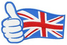 UK flag hand showing thumbs up