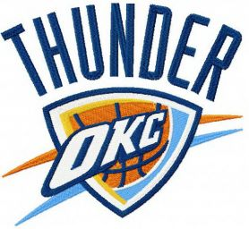 Thunder okc logo machine embroidery design