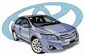 Toyota car machine embroidery design