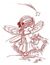Fairy collecting stars 2 machine embroidery design