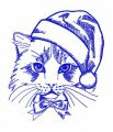 Christmas cat 3 embroidery design