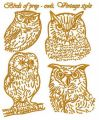 Birds of prey - owls. Vintage style 2 embroidery design