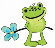 Froglet with forget-me-not flower