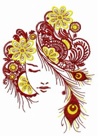 Firebird girl machine embroidery design