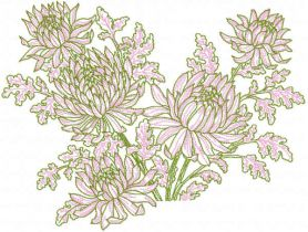 Peonies flowers embroidery design