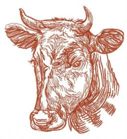 Kind cow machine embroidery design