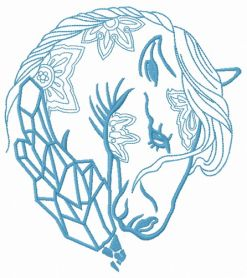 Sad crystal horse 2 machine embroidery design